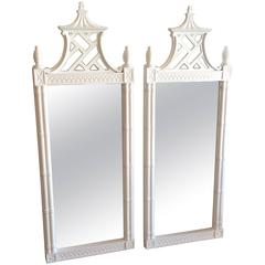 Pagoda Wall Mirrors Vintage Newly Lacquered Pair Faux Bamboo Chinese Chippendale