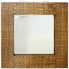 Stylish Large Mid-Century Bamboo Framed Mirror