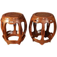 Early 20th Century Pair of Chinese Hardwood Barrel Seats