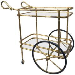 Gilt Bamboo Iron Rolling Bar Cart