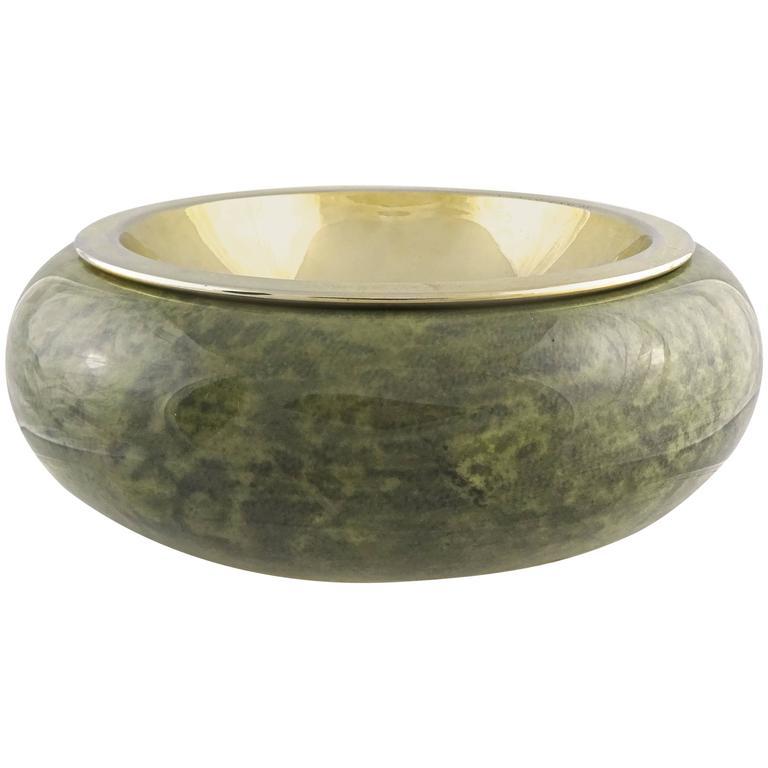 Rare 1950s Aldo Tura Jade Green Lacquered Goatskin Bowl For Sale