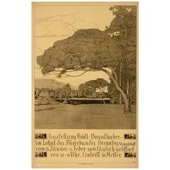 Original Czech Arts and Crafts Style 1905 Gallery Exhibition Poster