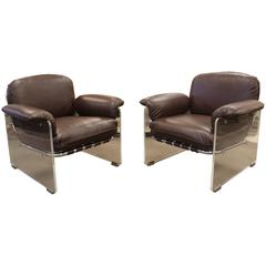 Pair of Lucite and Chrome Pace Argenta Lounge Chairs in Brown Leather