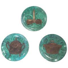 Fornasetti Set of Three 3 Malachite Green Stoviglie Plates Dinnerware Dishes