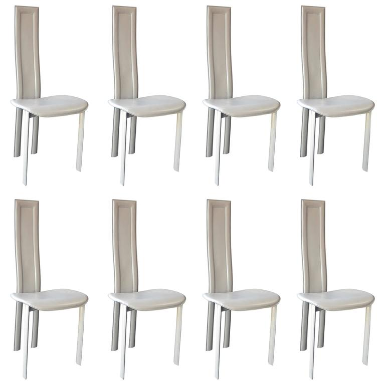 Set Of Eight Cattelan Italia Carre Vi Dining Chairs For