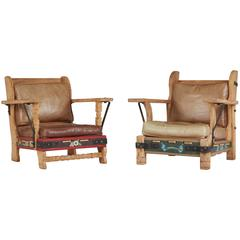 Very Rare His and Hers Monterey Classic Branded Leather and Oak Lounge Chairs