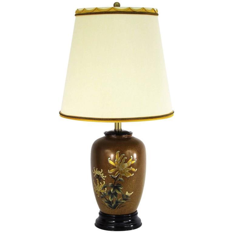 All Original Marbro Japanese Chrysanthemum Bronze Lamp 1