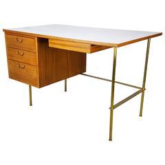 Rare Brass and Mahogany Writing Desk by Harvey Probber, 1960s