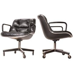 Pair of Charles Pollock Executive Desk Chairs for Knoll