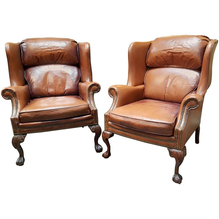 Leather Club Chairs By Schafer Brothers For