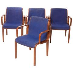Set of Four Bill Stephens for Knoll Dining Armchairs