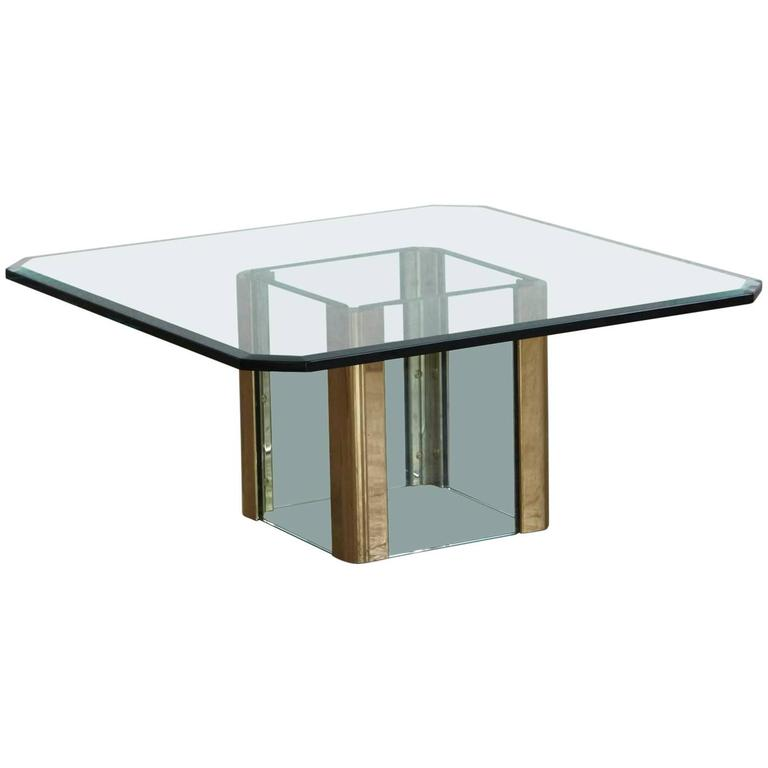 Brass Coffee Table with an Octagonal Beveled Glass Top by Leon Rosen for Pace For Sale