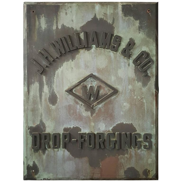 "Rare 1880s Handmade Copper/Bronze Sign, Plaque ""J.W.Williams Drop Forgings"" For Sale"