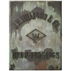 "Rare 1880s Handmade Copper/Bronze Sign, Plaque ""J.W.Williams Drop Forgings"""