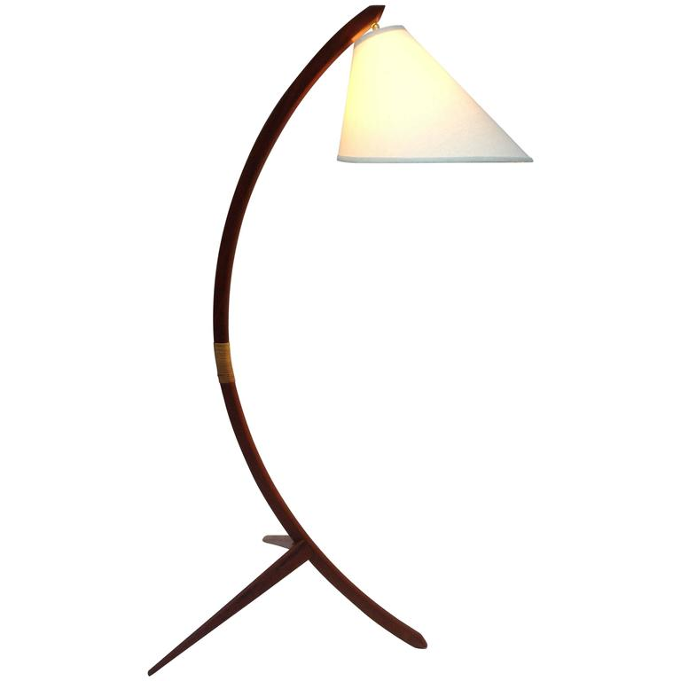 Mid Century Danish Modern Three Legged Teak Floor Lamp At