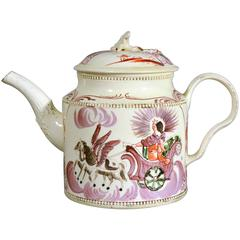 English Creamware William Greatbatch Pottery Teapot Decorated with Aurora, 1770s