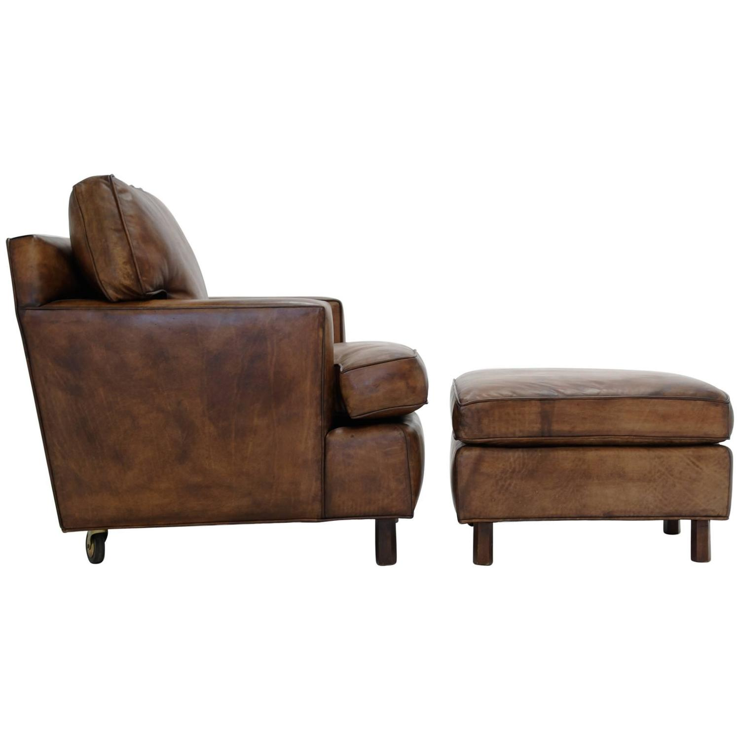 Edward Wormley for Dunbar Club Chair and Ottoman For Sale at 1stdibs