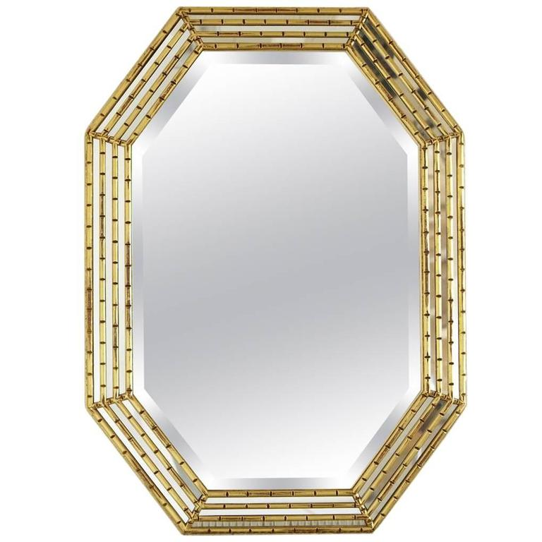 Gilded Octagonal Faux Bamboo Mirror with Beveled Glass by La Barge For Sale