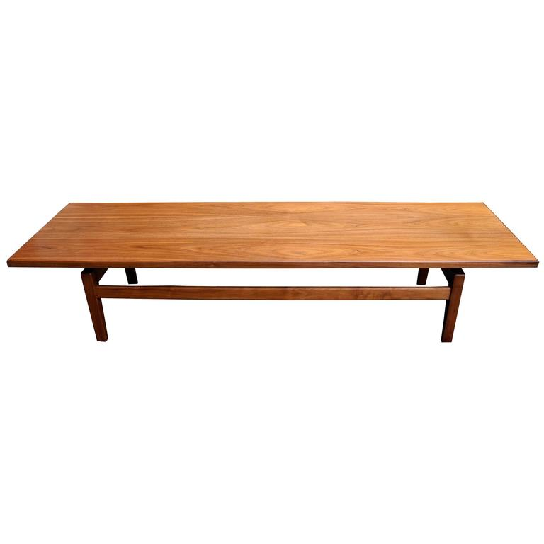 Mid Century Modern Solid Walnut Low Coffee Table Or Long Bench By Jens Risom For