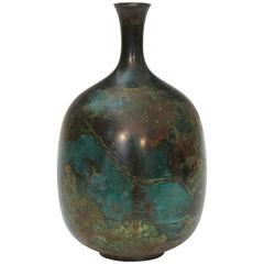 Vintage Japanese Green Patinated Bronze Bottle Vase