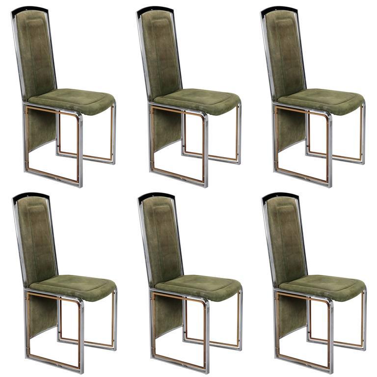 Set Of Six Italian Mid Century Chrome Brass Frame High Back Velvet Chairs  For Sale