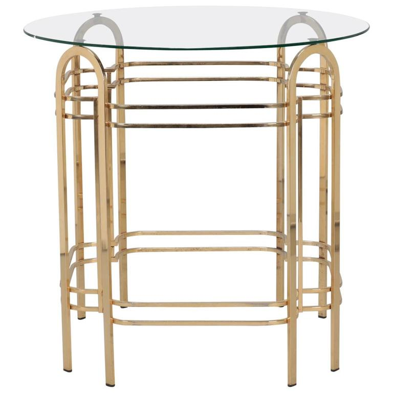 Brass and Glass Mid-Century Center Table