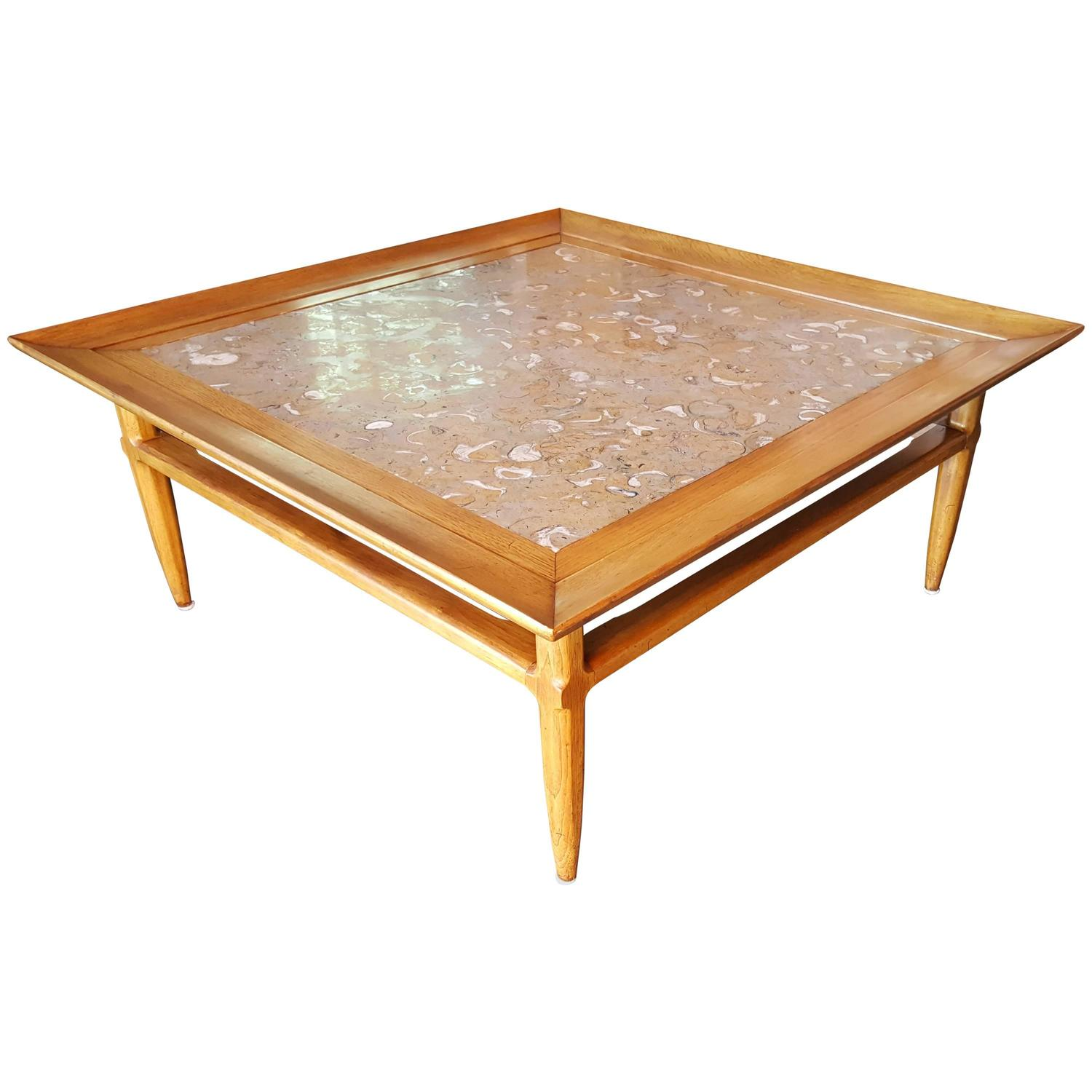 exceptional tomlinson square coffee table with fossil marble top for sale at 1stdibs