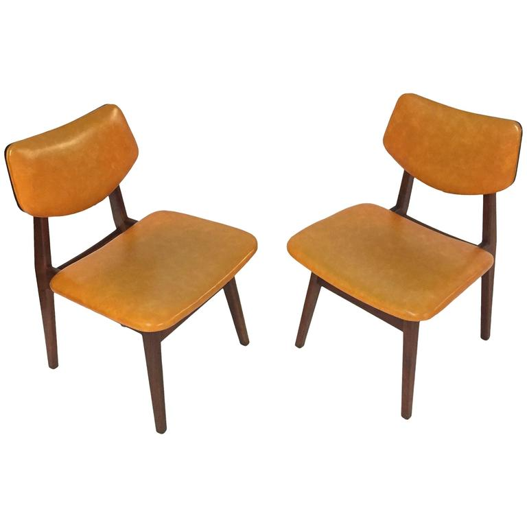 Pair of Early Jens Risom Chairs in Original Vinyl, circa 1950, Made in America