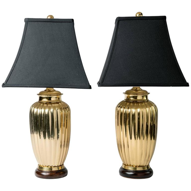 Pair of Art Deco Style Brass Table Lamps