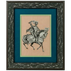 19th Century Knight on Horse Print