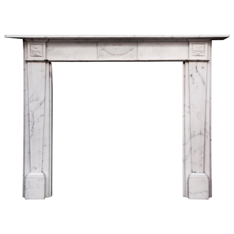 English Veined Statuary Antique Marble Fireplace