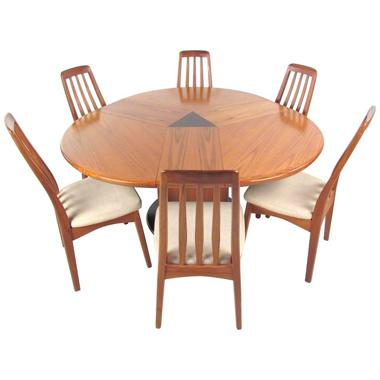 mid century modern danish teak dining set with rare expandable table