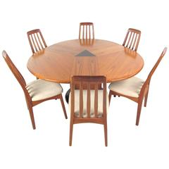 Mid-Century Modern Danish Teak Dining Set with Rare Expandable Table