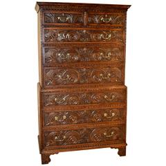 18th Century English Oak Chest on Chest