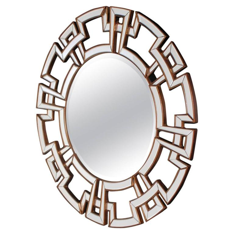 James mont style asian modern greek key mirror at 1stdibs for Asian style mirror