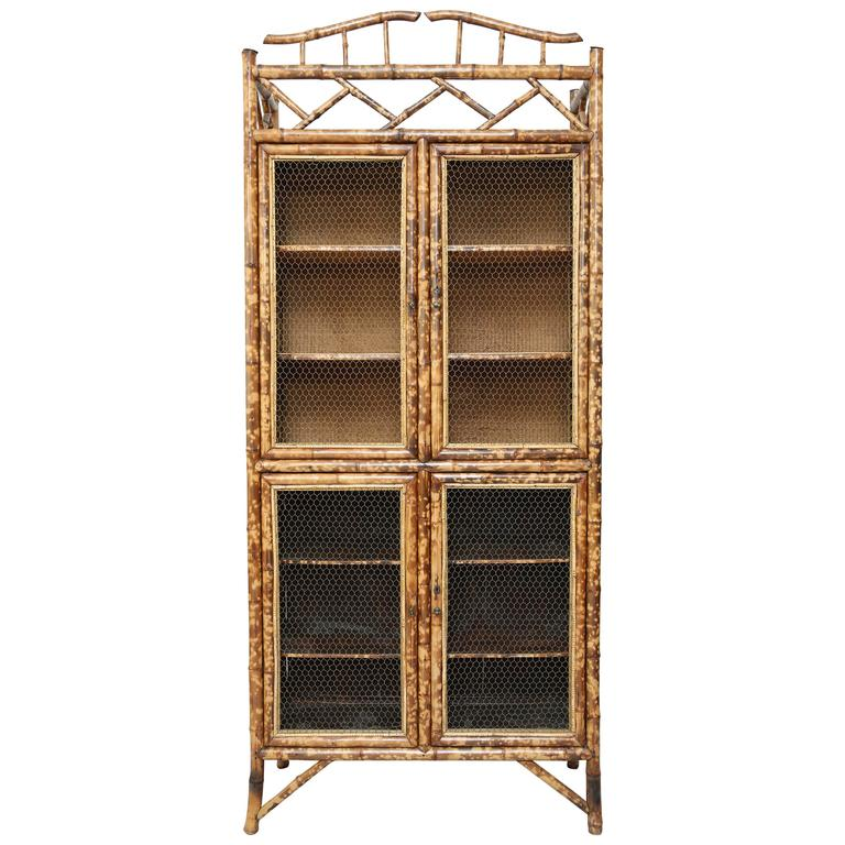 Antique Bamboo Cabinet With Chicken Wire Doors For Sale