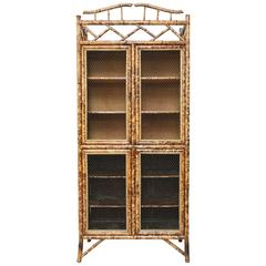 Antique Bamboo Cabinet with Chicken Wire Doors
