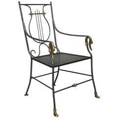 Maison Jansen Style Iron and Brass Swan Armchair