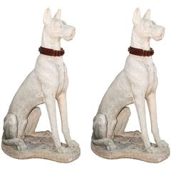 Pair of Lifesize Great Danes in Cast Stone