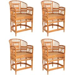 "Set of Four ""Brighton"" Bamboo Armchairs"