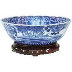 Meiji Period Blue Imari Center Bowl or Punch Bowl