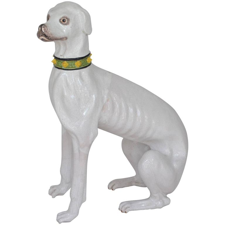 Porcelain Dog Sculpture from Early 20th Century