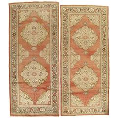 Pair of Antique Oushak Rug, Handmade Oriental Rug, Coral, Beige, Taupe Fine Rug
