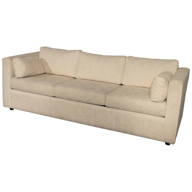 Mid century modern white tuxedo style sleeper sofa at 1stdibs for Mid century style couch