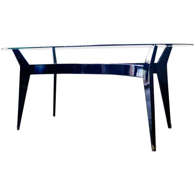 Mid Century Modern Italian Glass Top Dining Table Ebonized