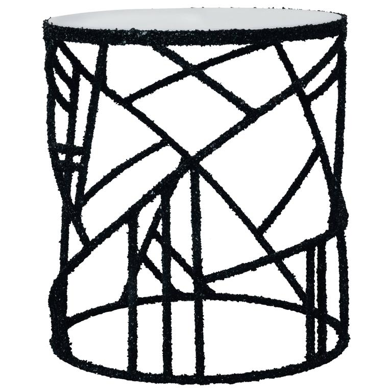 Hand Made Black Tourmaline and Onyx Side Table, by Samuel Amoia