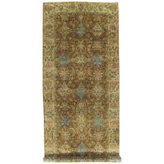 Vintage Indo Tabriz Carpet, Oriental Rug, Handmade, Taupe, Gold, Cream Caramel