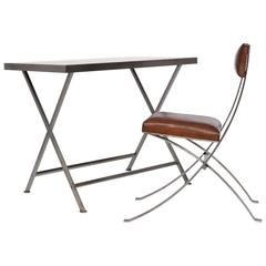 Leather Side Table and Chair, circa 1970