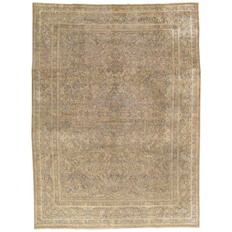 Antique Persian Kerman Carpet, Oriental Rug, Handmade For Sale