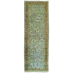 Karabagh Runner with Turquoise and Chartreuse